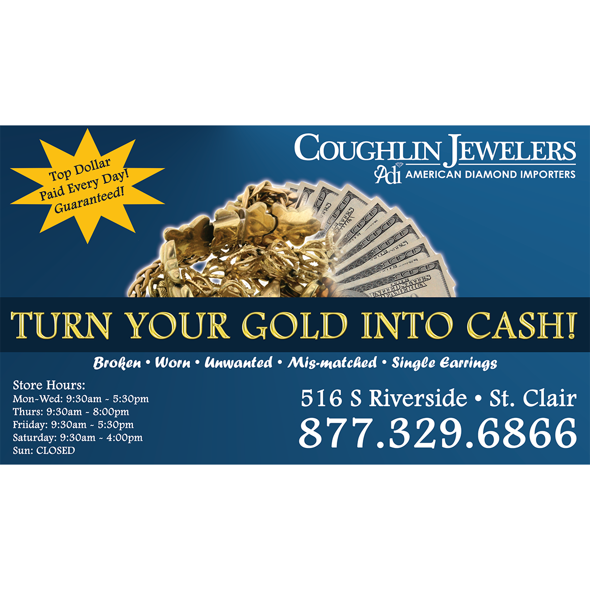 Coughlin Jewelers Gold Buying Ad
