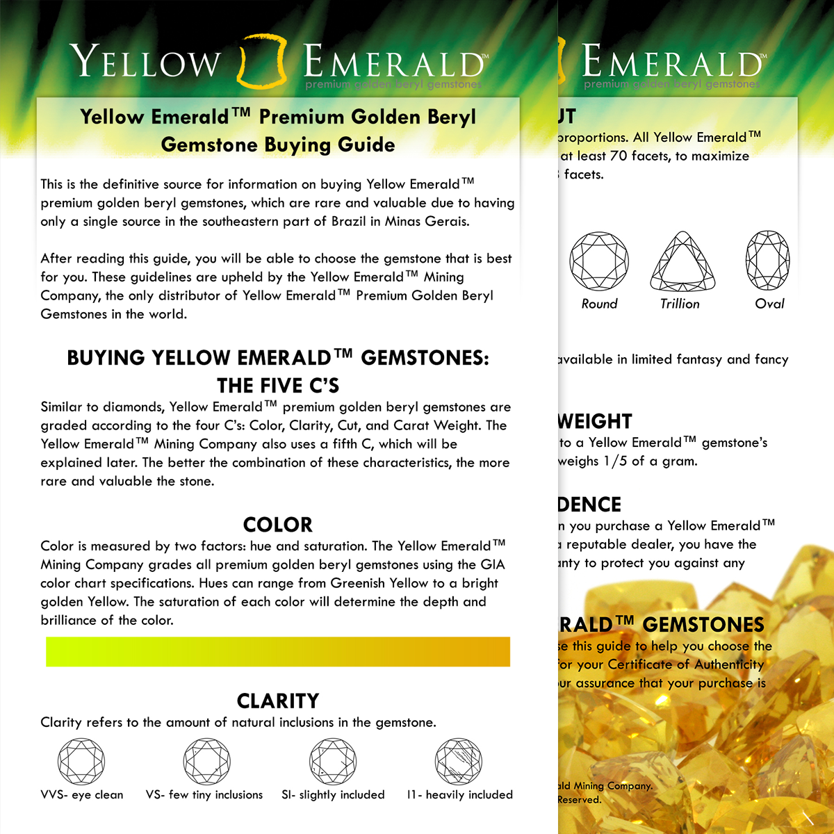 Yellow Emerald Information Card